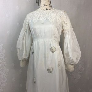 Vintage Ivory Puffy Sleeve Embellished Formal Gown